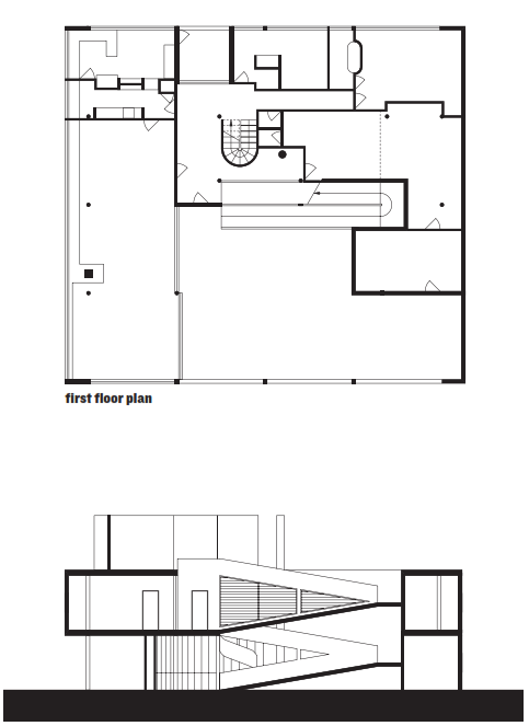 Le Corbusier, Villa Savoye, 1931, first floor plan and section