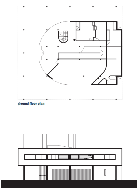 Le Corbusier, Villa Savoye, 1931, elevation and ground floor plan